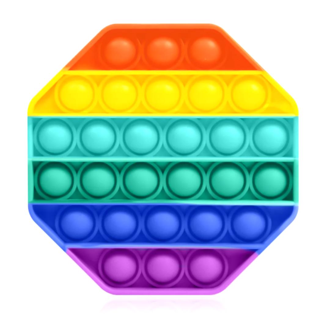 Пупырка вечная антистресс pop it (поп ит) радужный восьмиугольник