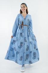Платье с вышитым узором макси
