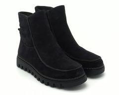 Зимние ботинки темно-серого цвета из натурального нубука