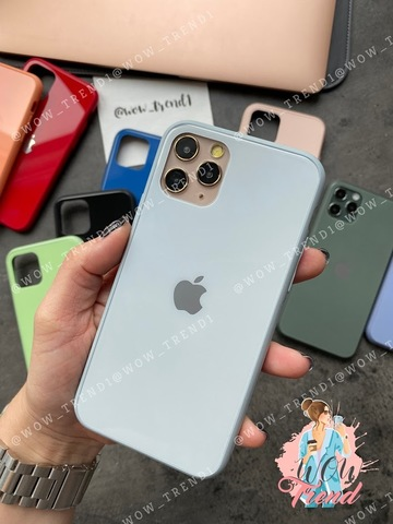 Чехол iPhone 11 Pro Max Glass Pastel color Logo /mist blue/