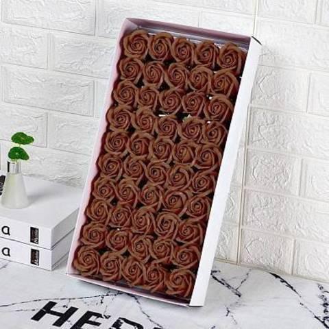 Ароматные мыльные бутоны роз в коробке коричневые (50 штук)