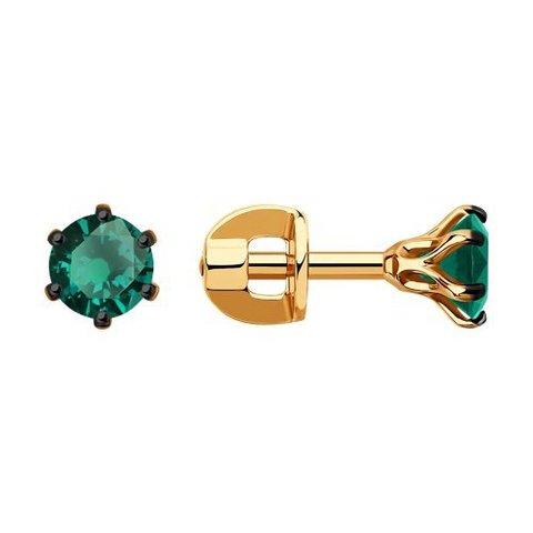 3020506 - Серьги-гвоздики из золота с изумрудами