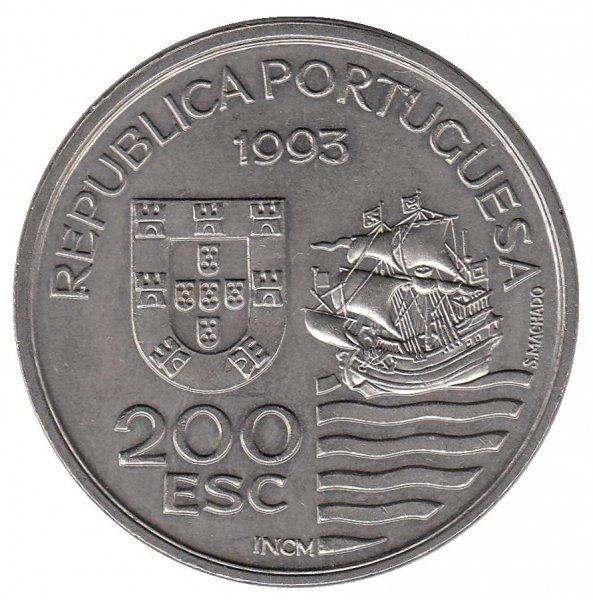 200 эскудо Португалия. Посланники острова Кюсю. Парусник. 1993 год. UNC