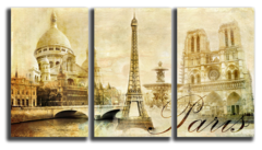 """Модульная картина """"Достопримечательности Парижа"""""""