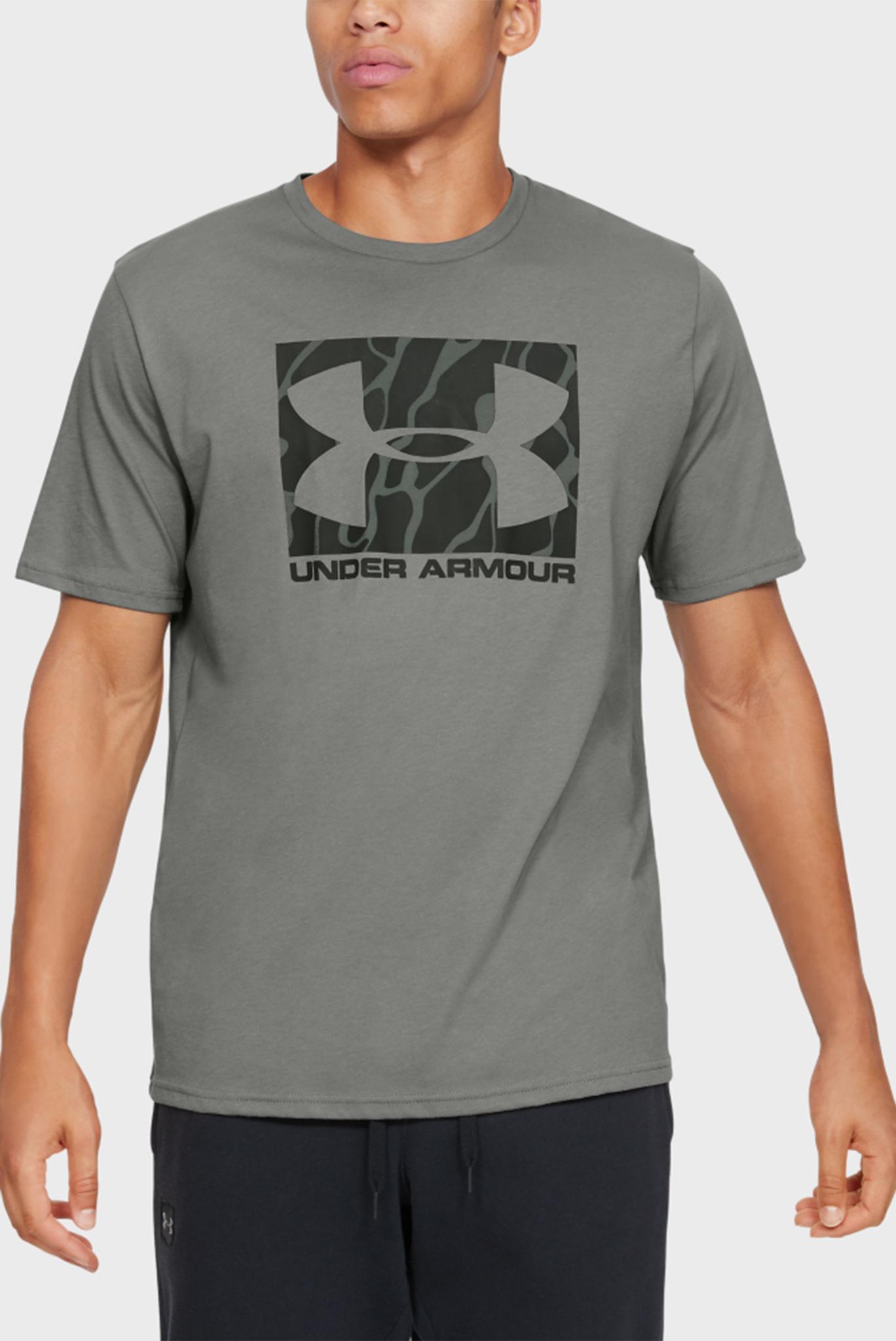 Мужская оливковая спортивная футболка UA CAMO BOXED LOGO SS Under Armour