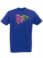 Футболка с принтом Цветы (Сирень) синяя 001