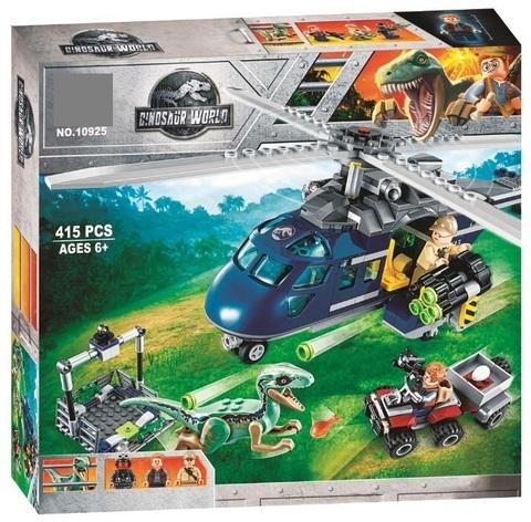 Конструктор Dinosaur World 10925 Погоня за Блю на вертолете