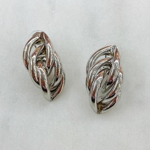 Серьги-кластеры из полуколечек (серебристый)