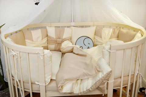 Комплект постельного в детскую кроватку Бантик Бежевый