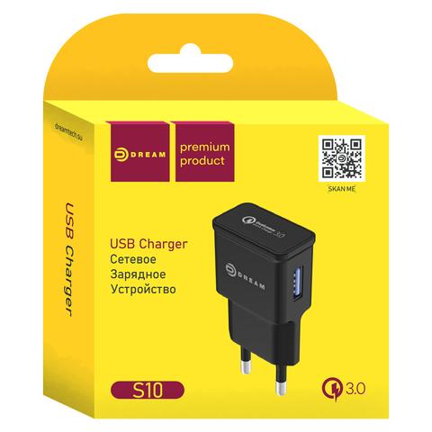 Сетевое зарядное устройство с быстрой зарядкой QC3.0, 2.4A, черный цвет