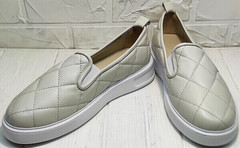 Женские кожаные туфли кеды без шнурков Alpino 21YA-Y2859 Cream.