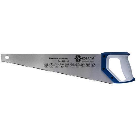 Ножовка по дереву КОБАЛЬТ 500 мм, шаг 3,5 мм/ 7 TPI, закаленный зуб, 3D-заточка, двухкомпонентная рукоятка, чистый рез
