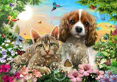 Картина раскраска по номерам 40x50 Кошка и собака на сказочном фоне