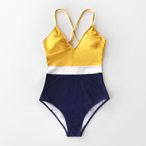 купальник слитный спортивный синий желтый закрытый 2