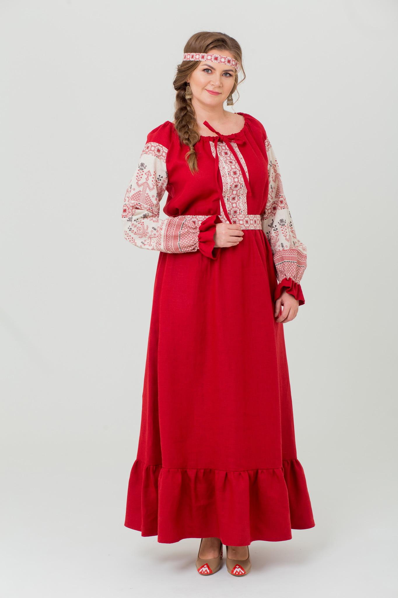 платье Брусничный цвет в русском стиле