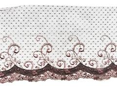 Вышивка на сетке, ПРАВАЯ, 18 см, шоколад/кофейно-розовый, (Артикул: VS-1007), м