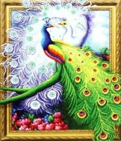 Алмазная Мозаика 5D 40x50 Павлины в цветочном саду (арт.LT0467)