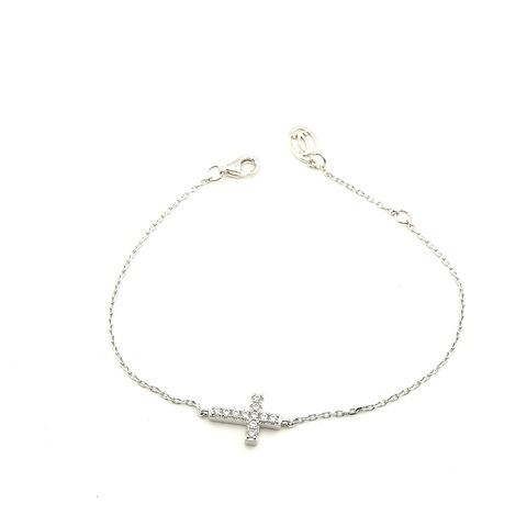 122015- Браслет с подвеской крестик из серебра