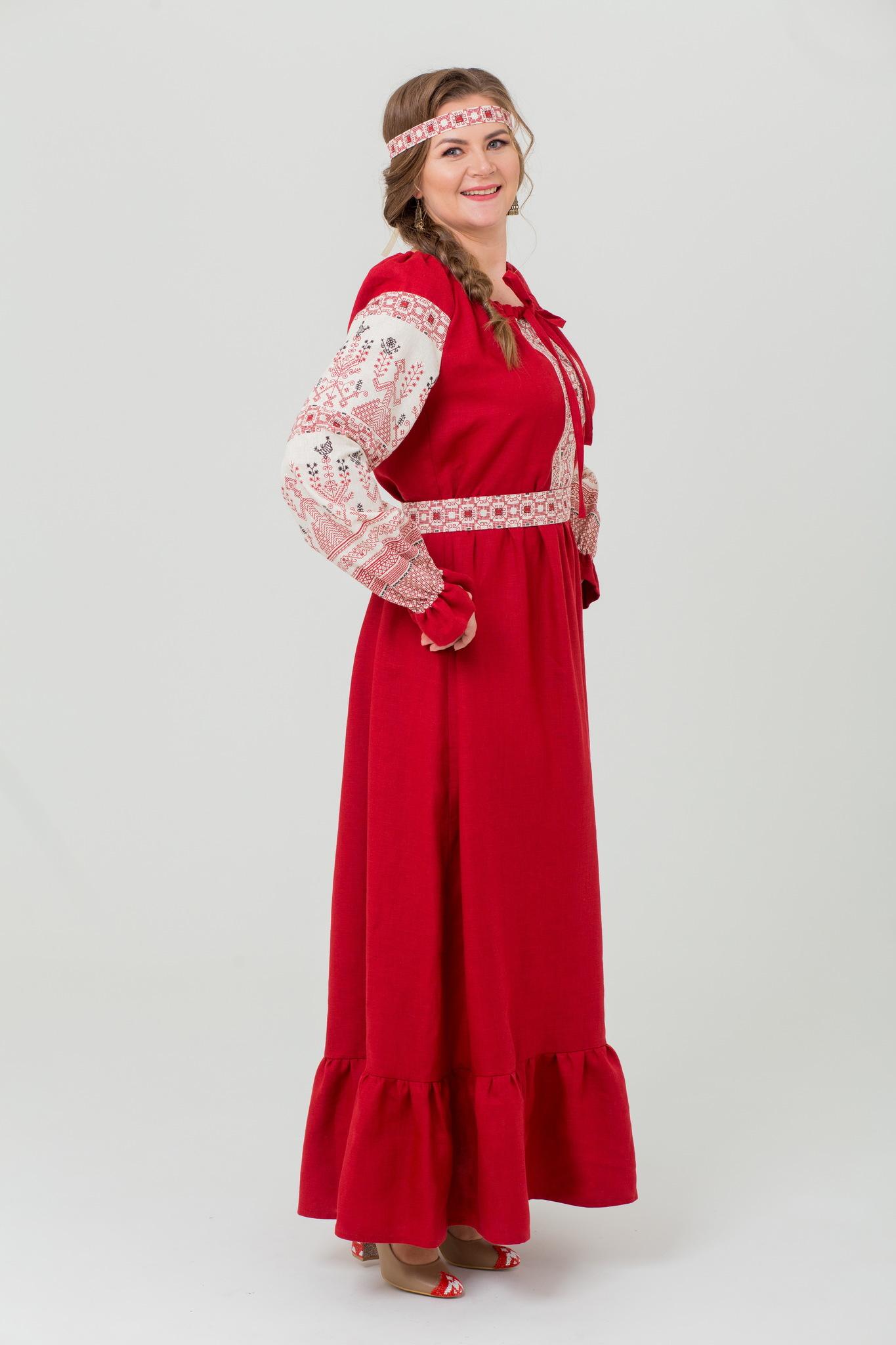 Платье Брусничный цвет русское народное