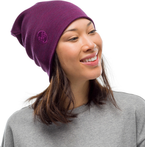 Теплая шерстяная шапка-бини Buff Hat Wool Heavyweight Purplish Multi Stripes фото 2