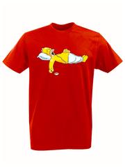 Футболка с принтом мультфильма Симпсоны (The Simpsons) красная 015