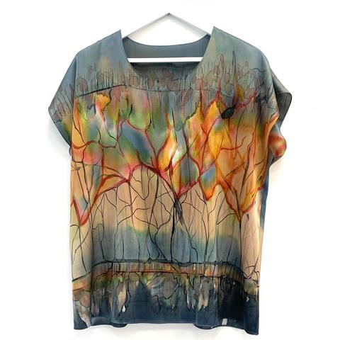 Шелковая блузка батик Летний Зной