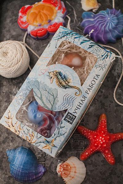 Коробка для подарочного мыла Акварельное море
