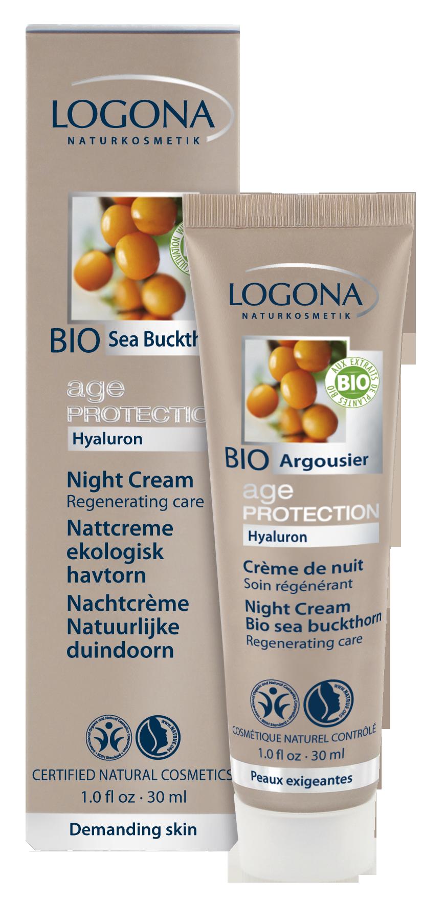LOGONA Age Protection Крем ночной регенерирующий против морщин с Био-Облепихой