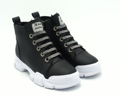 Черные кожаные полуботинки с декоративным шнурком