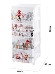 Комод с рисунком №4 Париж 4-х секционный белый из пластика Эльфпласт 40*48*98 см