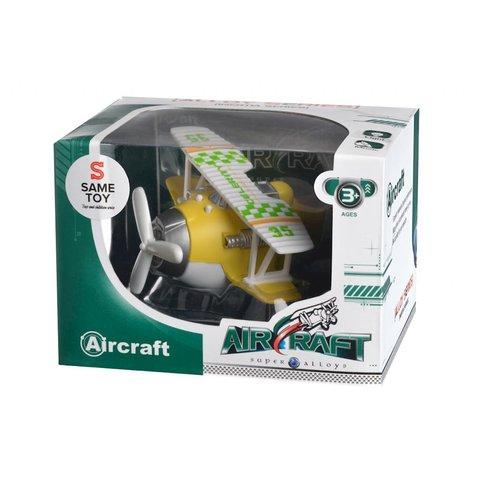 Самолет металический инерционный Same Toy Aircraft желтый со светом и музыкой SY8015Ut-1