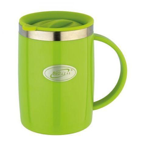 Кружка Biostal Flër (0,5 литра) с крышкой, зеленая