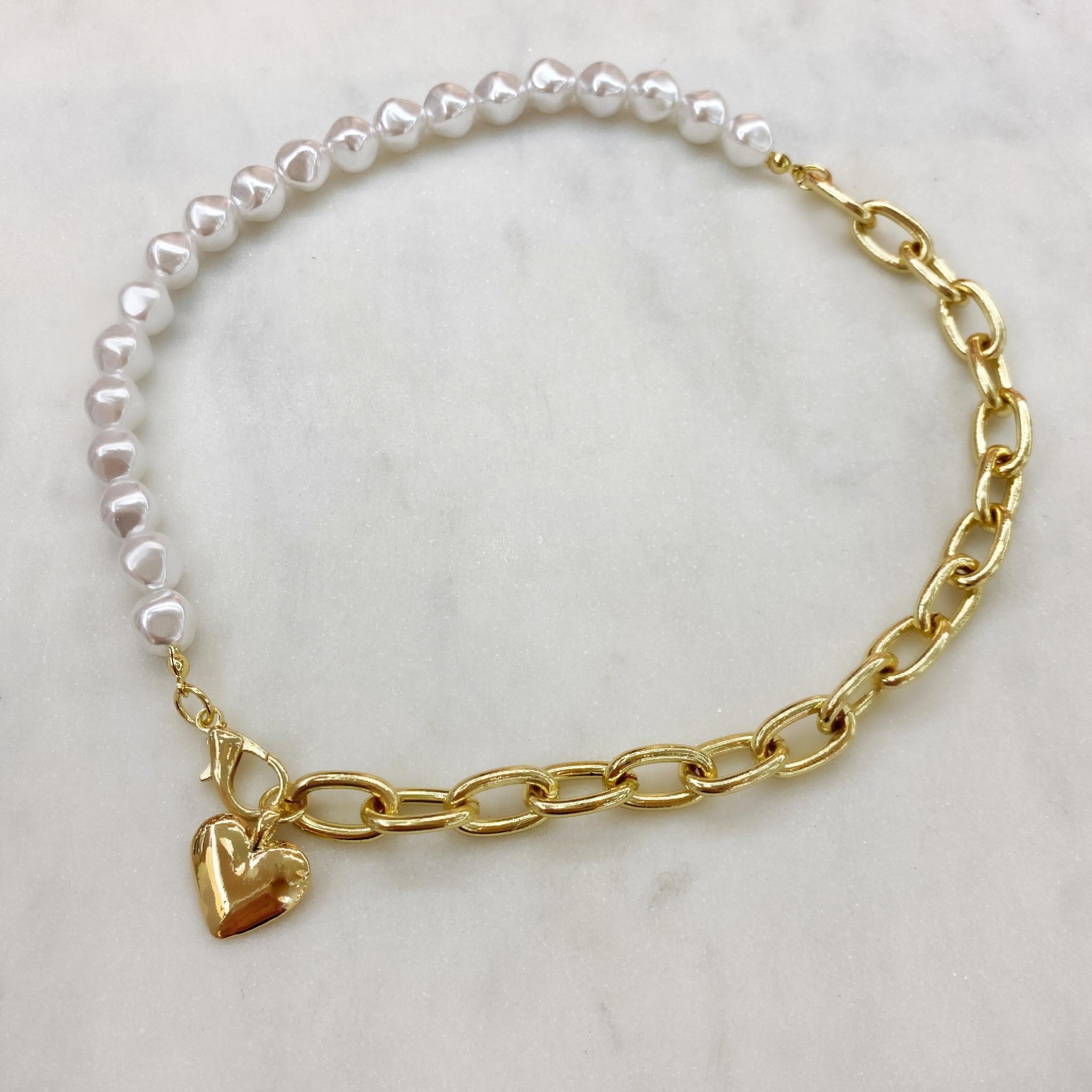 Колье-цепь комбинированное с сердцем (золотистый)