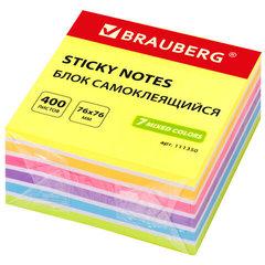 Блок самоклеящийся (стикеры) BRAUBERG НЕОНОВЫЙ 76х76 мм, 400 листов, 7 цветов