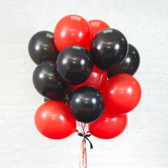 Букет из 15 шаров (Красный и Черный)