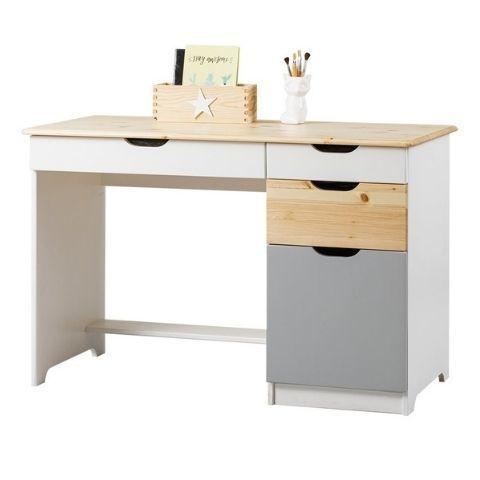 Письменный стол из массива Кидс 5 (белый/лак/голубой)