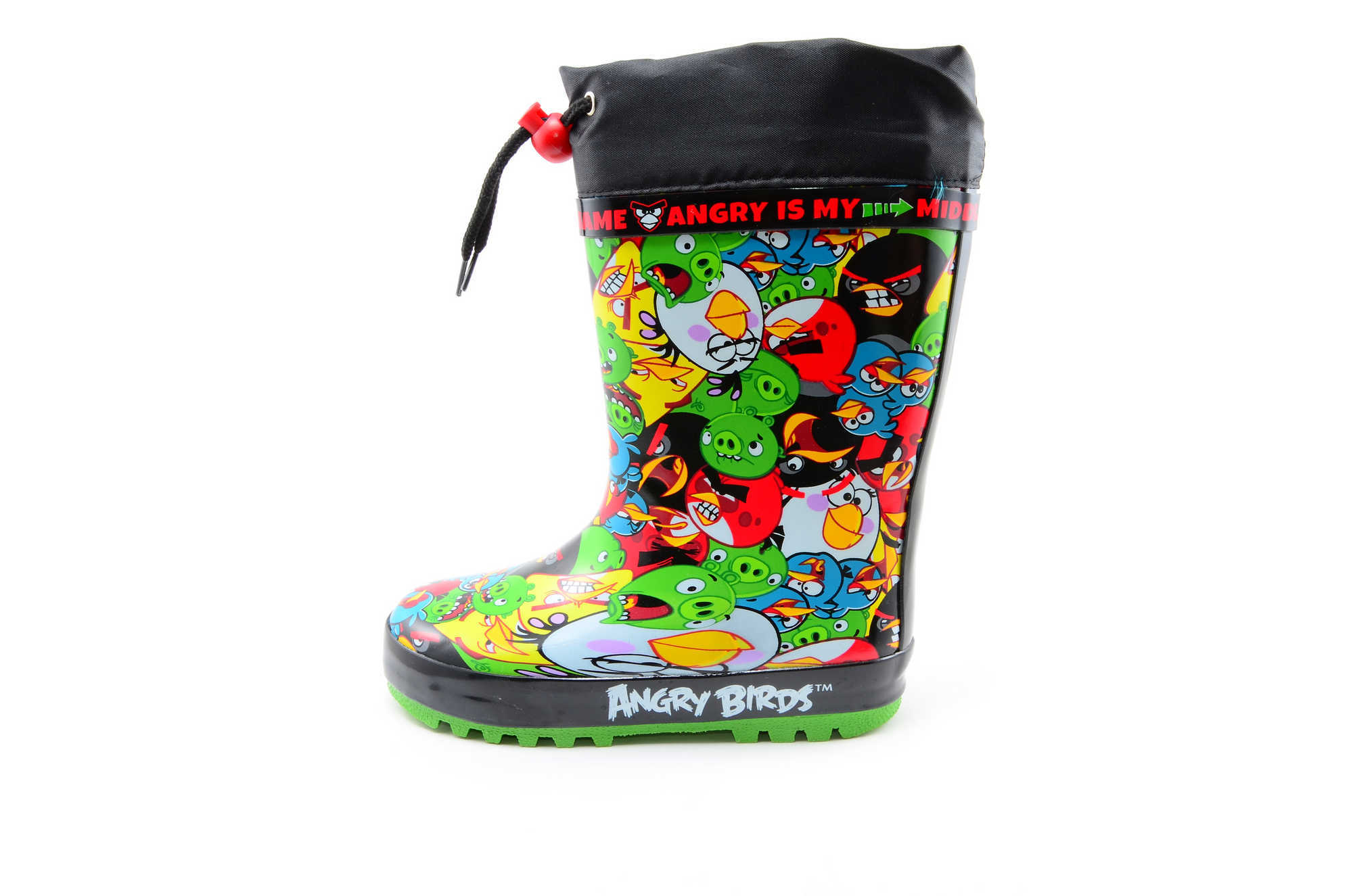 Резиновые сапоги для мальчиков утепленные Энгри Бердс (Angry Birds), цвет черный