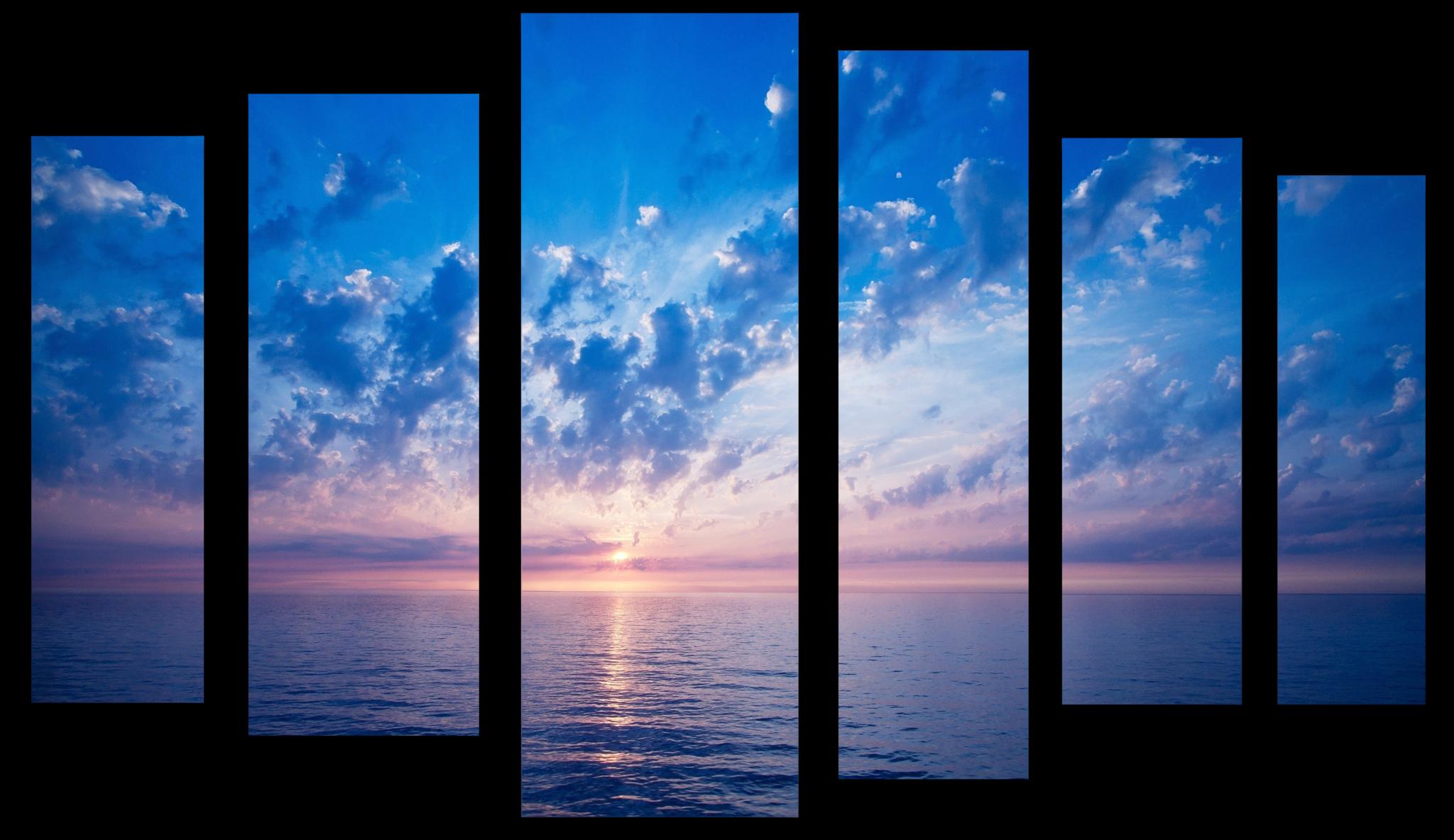 """Природа Модульная картина """"Рассвет на море"""" М1036_M_загибы_100х67.png"""