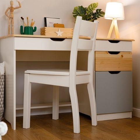 Письменный стол из массива сосны Кидс 5 (белый/лак/голубой)