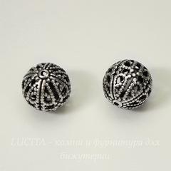 Винтажный элемент - бусина шарик филигрань 10 мм (оксид серебра)