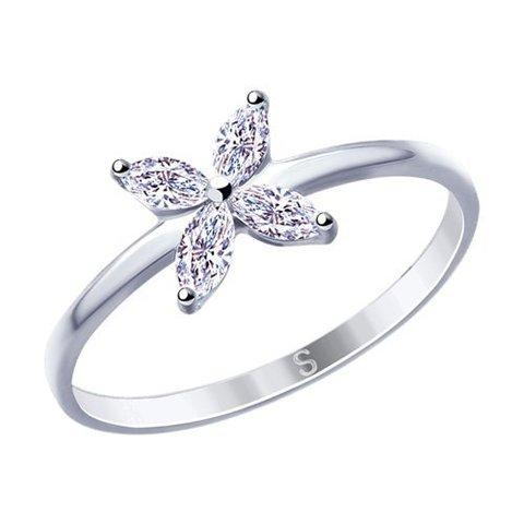 94012778 - Кольцо из серебра с фианитами