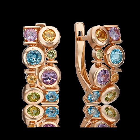02-4671-00-730-1110-57- Серьги из золота с миксом полудрагоценных  камней
