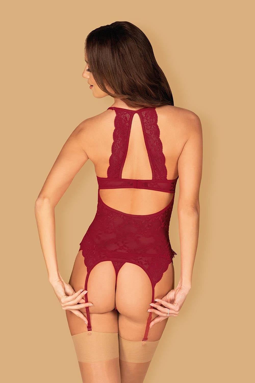 Бордовый корсет Ivetta с подвязками для чулок