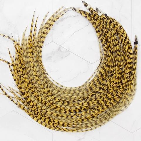 Перо из седла петуха Grizzly Golden Straw (10 шт)