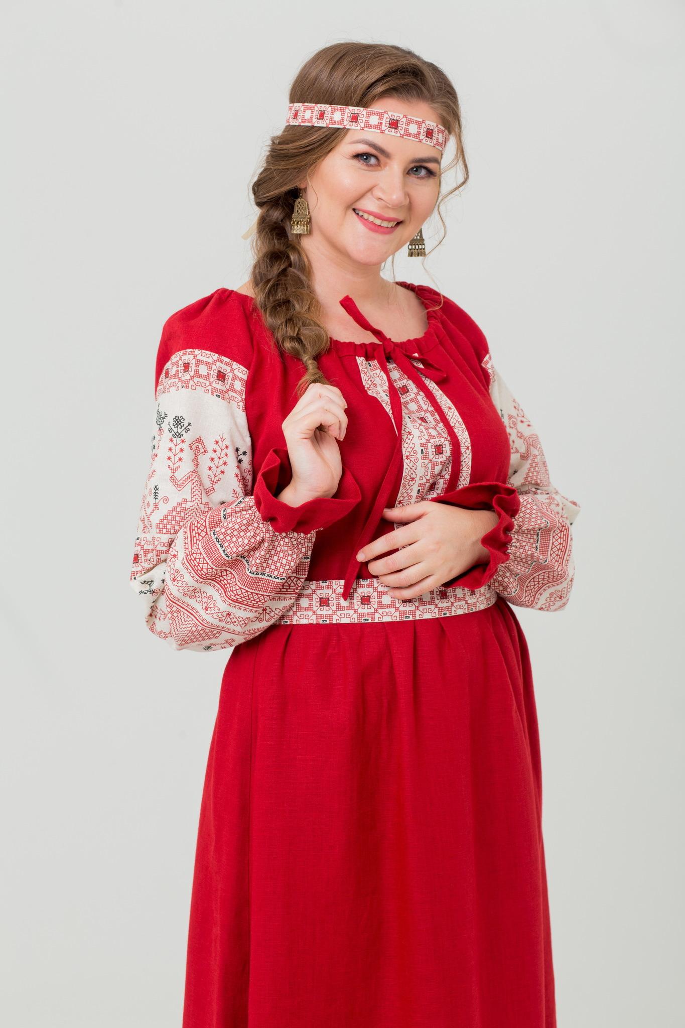 Льняное народное платье купить