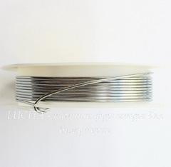 Проволока медная 1 мм, цвет - серебро, примерно 1,8 метра