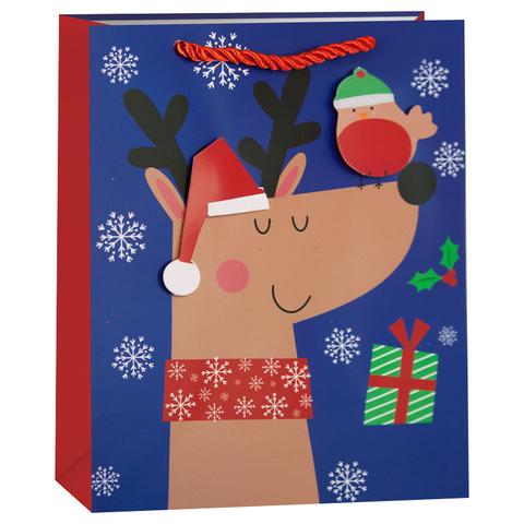 Пакет подарочный, Новогодний олень, 42*32*12 см