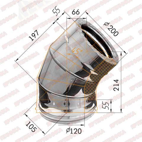 Отвод-сэндвич 135° d120x200мм (430/0,5 мм+оцинк) Ferrum в интернет-магазине ЯрТехника
