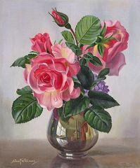 Картина раскраска по номерам 40x50 Розовые розы в прозрачной вазе