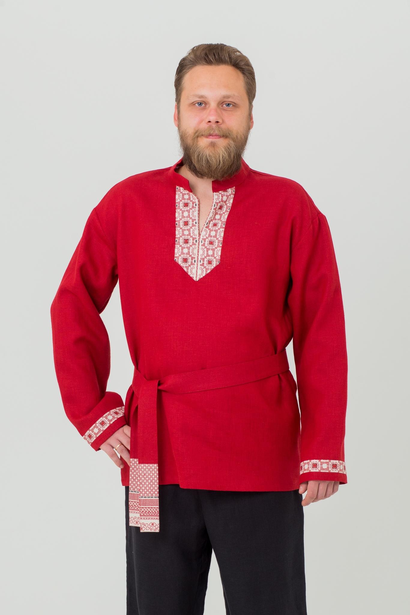 Рубаха Брусничный цвет в русском стиле
